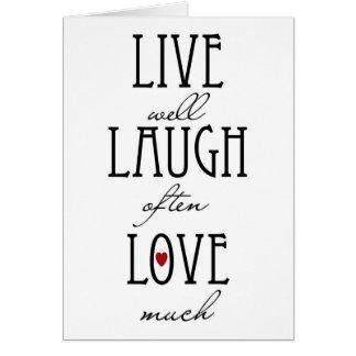 Vive el texto simple del amor de la risa felicitación