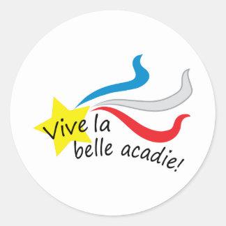 Vive la belle acadie classic round sticker