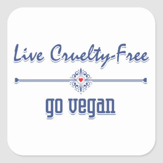 Vive la crueldad libre, va vegano pegatina cuadrada