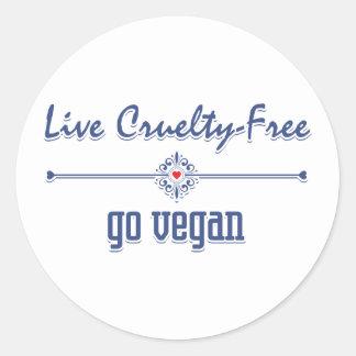 Vive la crueldad libre, va vegano pegatina redonda
