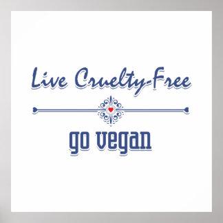 Vive la crueldad libre, va vegano póster