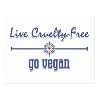 Vive la crueldad libre, va vegano tarjeta postal