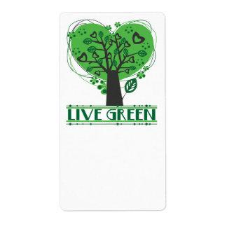 Vive la etiqueta abstracta verde del árbol etiquetas de envío