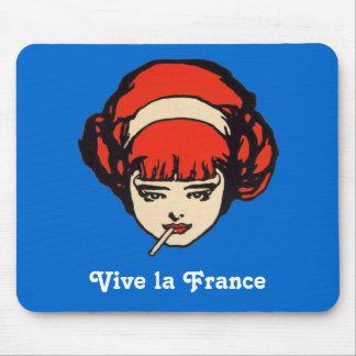 Vive La France Bleu Blanc Rouge Smoking Girl Mouse Pad