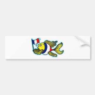 VIVE LA FRANCE French Flag Fish funny cartoon Bumper Sticker