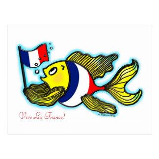 VIVE LA FRANCE French Flag Fish funny cartoon Postcard