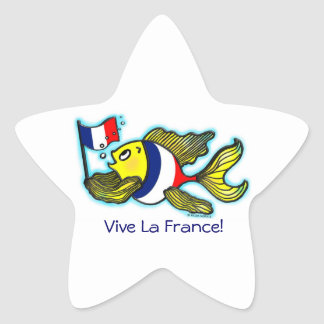 VIVE LA FRANCE French Flag Fish funny cartoon Star Sticker