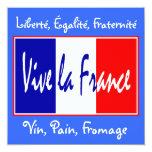 """Vive la France Invitation to a French Event 5.25"""" Square Invitation Card"""