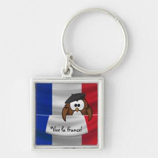 Vive la France owl Silver-Colored Square Keychain