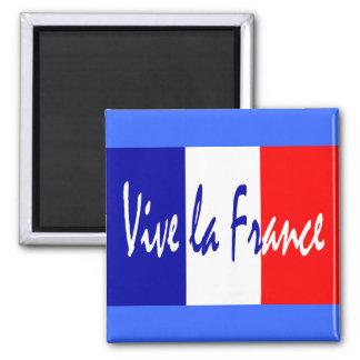 Vive la France - Red, White, Blue French Flag 2 Inch Square Magnet