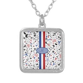 Vive la France Square Pendant Necklace