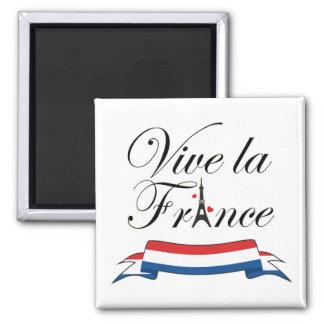 Vive la France Typography 2 Inch Square Magnet