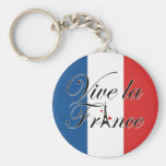 Vive la France Typography Basic Round Button Keychain
