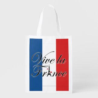 Vive la France Typography Reusable Grocery Bag