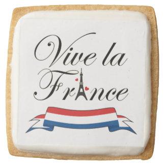 """Vive la France"" Typography Square Shortbread Cookie"