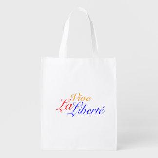 Vive La Liberté - Long Live Freedom - French Reusable Grocery Bag
