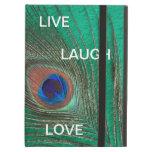 Vive la pluma del pavo real del amor de la risa