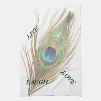 Vive la toalla de cocina de la pluma del pavo real