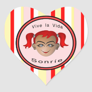 Vive La Vida Sonrie Niña Heart Sticker