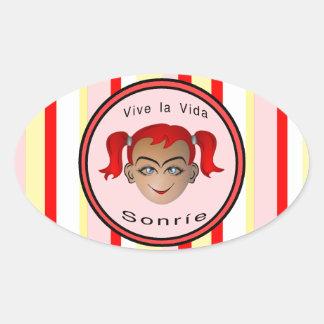 Vive La Vida Sonrie Niña Oval Sticker