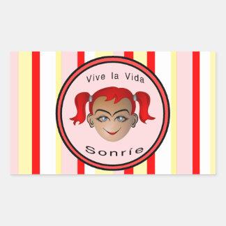 Vive La Vida Sonrie Niña Rectangular Sticker