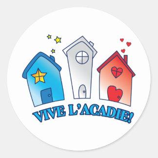 "Vive L'acadie "" Maison"" Classic Round Sticker"
