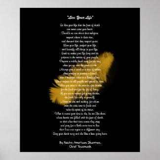 Vive pluma de oro de su vida por principal TECUM Posters