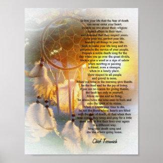 Vive puesta del sol de TECUMSEH Dreamcatcher de s Poster