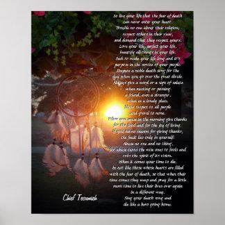 Vive puesta del sol de TECUMSEH Dreamcatcher de s Posters