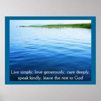 Vive simplemente, el amor abundante, cuida póster