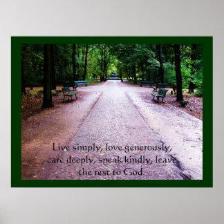 Vive simplemente, el amor abundante, cuida profund póster