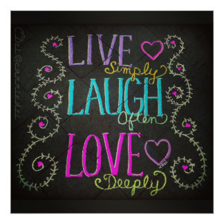 vive simplemente, la risa a menudo, ama póster