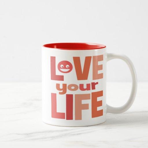 Vive su vida, ama su rosa de la vida taza de café