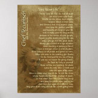 """""""Vive su vida"""" en el pergamino viejo, principal Posters"""