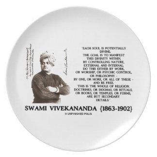 Vivekananda Each Soul Potentially Divine Be Free Plates