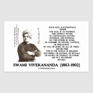 Vivekananda Each Soul Potentially Divine Be Free Rectangular Sticker