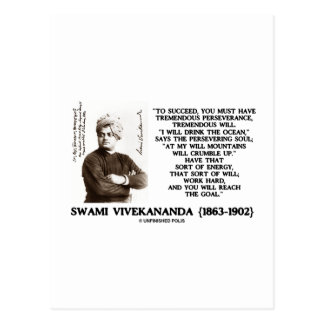 Vivekananda To Succeed Have Perseverance Will Goal Postcard