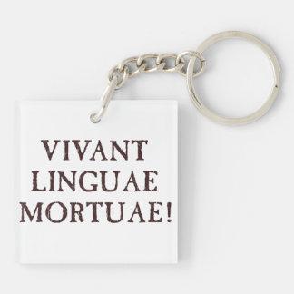 Viven de largo las idiomas muertas - latín llavero cuadrado acrílico a doble cara