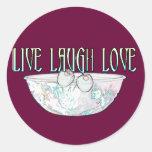 Viven los pegatinas 1 del amor de la risa pegatinas redondas