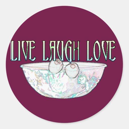 Viven los pegatinas 1 del amor de la risa pegatina redonda