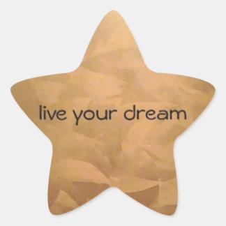 Viven sus metálicos de cobre ideales pegatina en forma de estrella