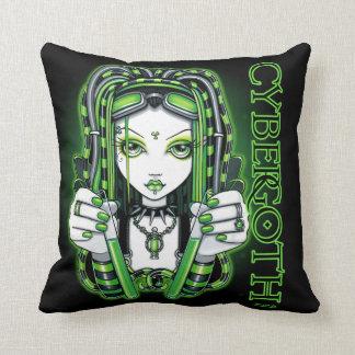 Vivian Cyber Goth Green Psytrance Fairy Pillow