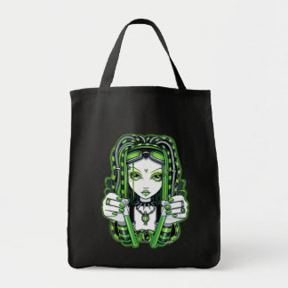 """Vivian"" Cybergoth Dark Industrial Fae Tote Bag"