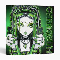 vivian, green, cybergoth, fairy, faery, cyber, goth, faerie, toxic, industrial, fantasy, art, myka, jelina, Binder with custom graphic design
