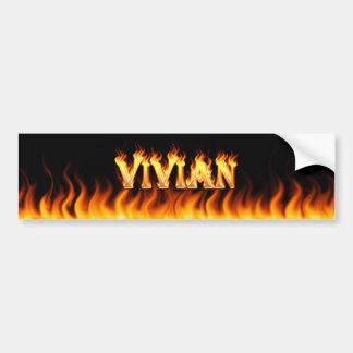Vivian real fire and flames bumper sticker design car bumper sticker