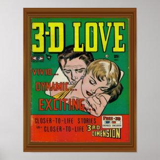 Vivid 3d Love Comic Book Cover Artwork Poster