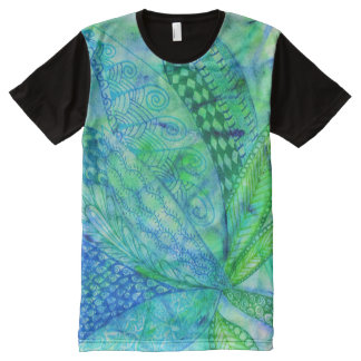 Vivid abstract mixed media floral All-Over print t-shirt