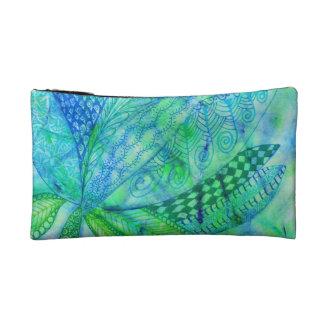 Vivid abstract mixed media floral cosmetic bag