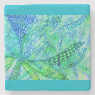 Vivid abstract mixed media floral stone coaster