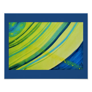 Vivid abstract watercolor planet with rings poster